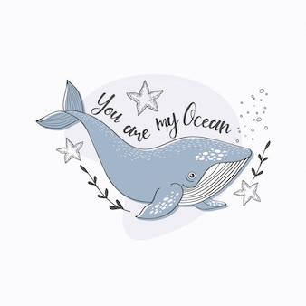 Poster di balena simpatico cartone animato. animale oceano disegnato a mano