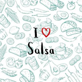 Poster di banner con elementi di cibo messicano abbozzato con lettering