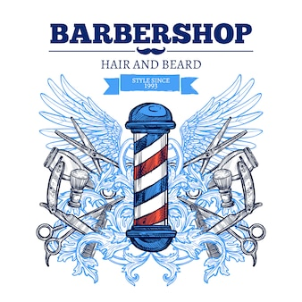 Poster di barber shop advertisement flat