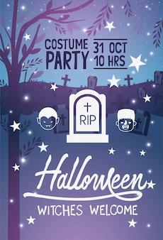 Poster di benvenuto di streghe di halloween