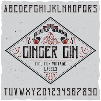 Poster di carattere tipografico di gin allo zenzero con decorazione su illustrazione di design semplice etichetta