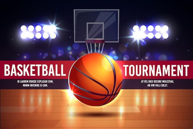 Poster di cartone animato, banner con torneo di basket - palla splendente su un campo.
