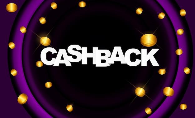 Poster di cashback di denaro con monete dollaro d'oro