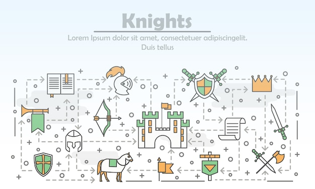Poster di cavalieri medievali arte linea sottile