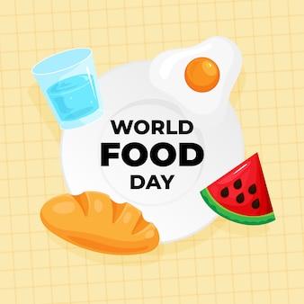 Poster di celebrazione della giornata mondiale dell'alimentazione. vari tipi di cibi e bevande icona sul piatto