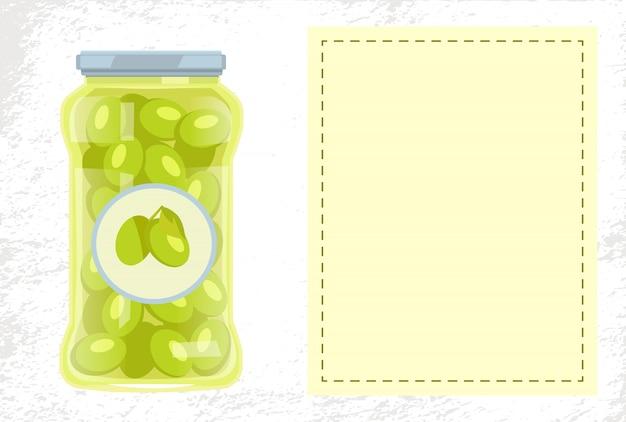 Poster di cibo conservato in olive in vaso di vetro
