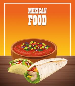 Poster di cibo messicano con burritos