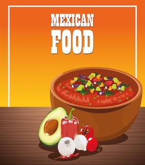 Poster di cibo messicano con insalata di verdure