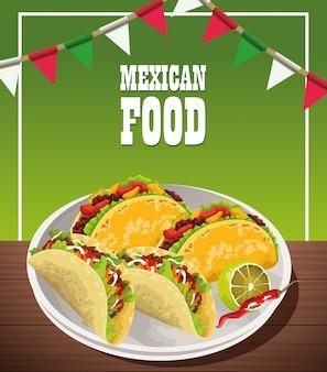 Poster di cibo messicano con tacos