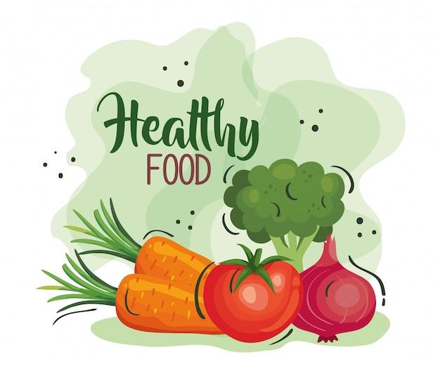 Poster di cibo sano con carote e verdure