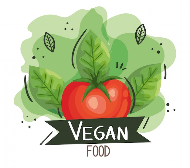 Poster di cibo vegano con pomodoro e foglie