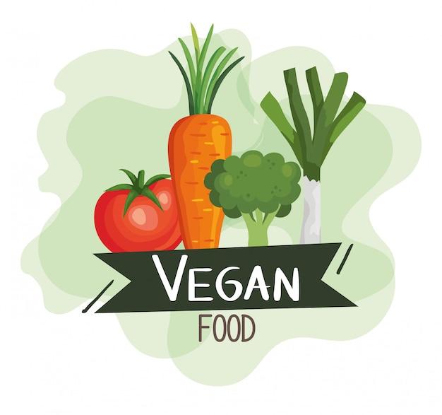 Poster di cibo vegano con pomodoro e verdure