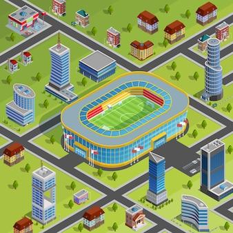 Poster di città isometrica dello stadio di sport