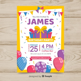 Poster di compleanno colorato design piatto