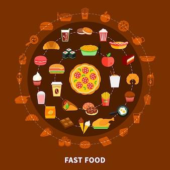 Poster di composizione cerchio menu fast food