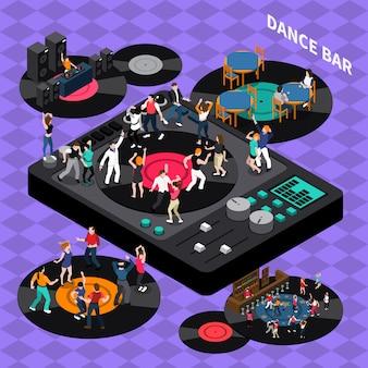 Poster di composizione isometrica di dance club bar