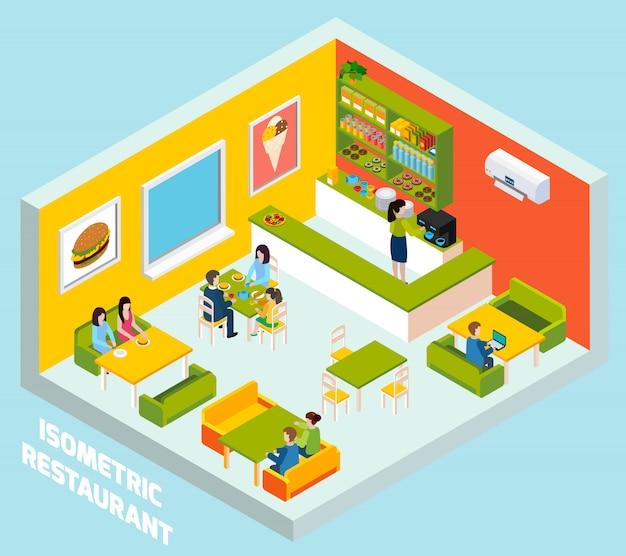 Poster di composizione isometrica interni bar ristorante