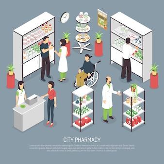 Poster di composizione isometrica interni di farmacia di città
