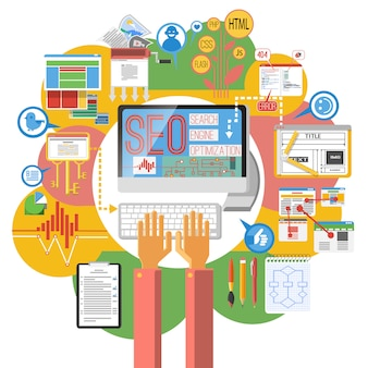 Poster di computer concetto di seo
