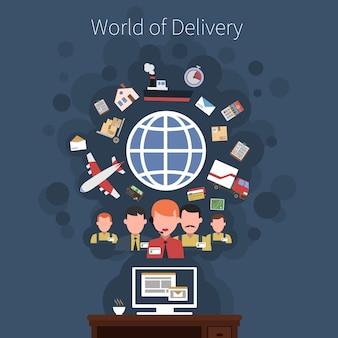 Poster di concetto di trasporto logistico