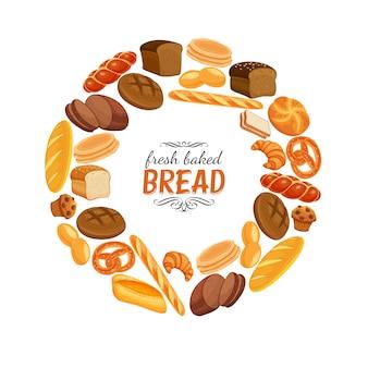 Poster di cornice rotonda di prodotti di pane