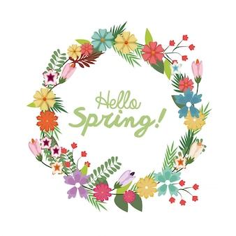 Poster di corona floreale di primavera con scritte a mano