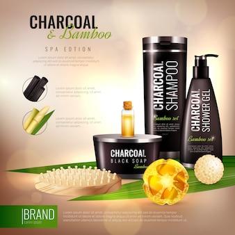 Poster di cosmetici per il corpo in carbone e bambù
