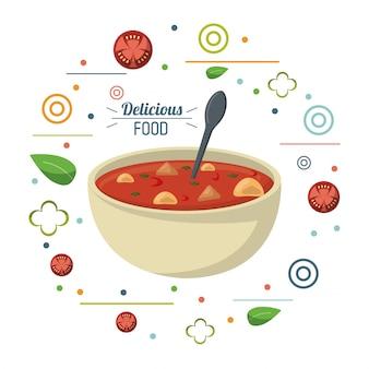 Poster di cucchiaio di dieta nutrizionale di cibo delizioso zuppa