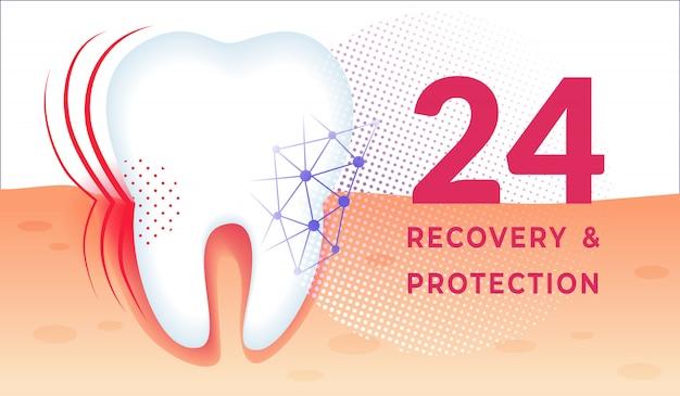 Poster di cura dei denti con enorme dente sano in gomma.