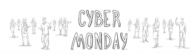 Poster di cyber monday con sketch people silhouette horizontal banner