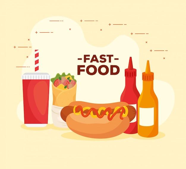 Poster di deliziosi fast food