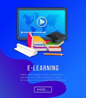 Poster di educazione e-learning con computer tablet, libri, libri di testo, matita e cappello di laurea.