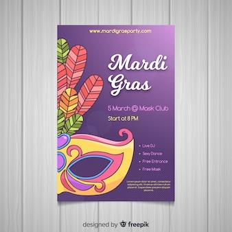 Poster di erba mardi disegnato a mano