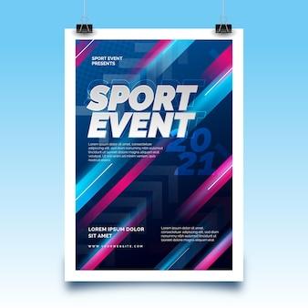 Poster di eventi sportivi con linee di eccesso di velocità