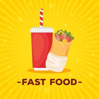 Poster di fast food, burrito con bevanda in bottiglia