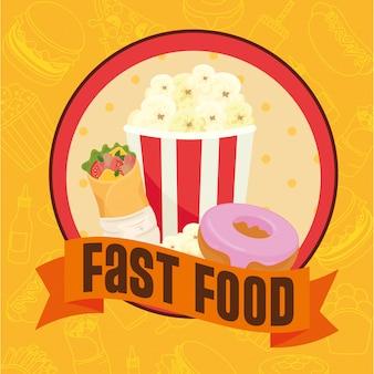 Poster di fast food, popcorn con ciambella e burrito