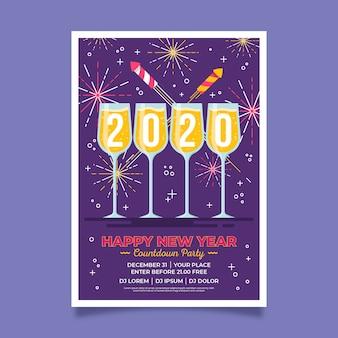 Poster di felice anno nuovo 2020 fuochi d'artificio d'oro e champagne