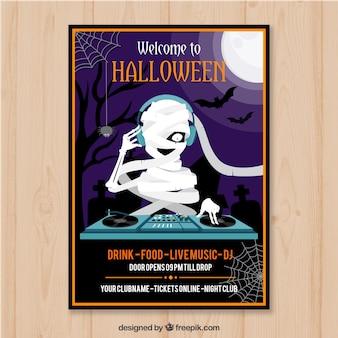 Poster di festa di halloween con dj di mummia