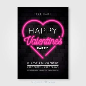Poster di festa di san valentino al neon