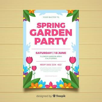 Poster di festa in giardino piatto primavera
