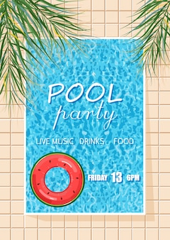 Poster di festa in piscina estiva