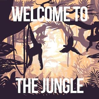 Poster di festa nella giungla leggera