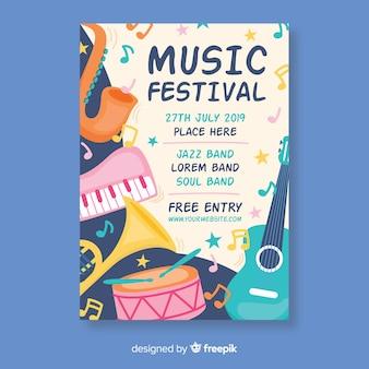 Poster di festival di musica di strumenti di colore pastello