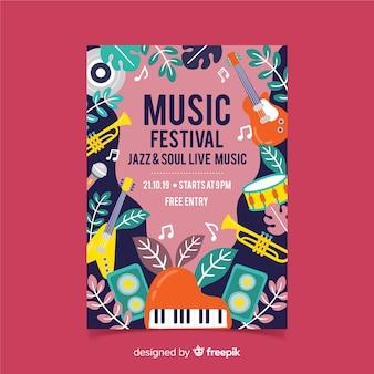 Poster di festival di musica di strumenti e foglie