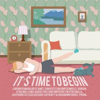 Poster di fitness di allenamento domestico