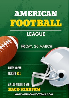 Poster di football americano con palla e casco