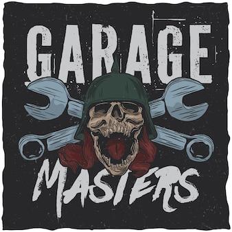 Poster di garage con teschio e chiavi inglesi