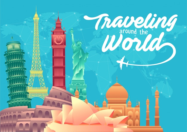 Poster di giornata mondiale del turismo con punti di riferimento famosi del mondo ed elementi di destinazioni turistiche