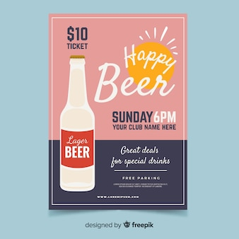 Poster di happy hour con bottiglia di birra