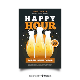Poster di happy hour con bottiglie di birra